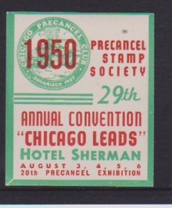 USA CINDERELLA STAMP ON 29thANNUAL PSS CONVENTION IN CHICAGO IN 195043
