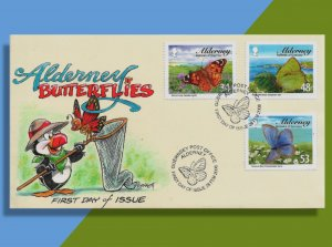 Butterflies and a Puffin Grace This Handcolored 2008 FDC from Alderney