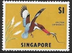 1962 SINGAPORE -  SG:75 -  BIRDS - KINGFISHER  - MOUNTED MINT