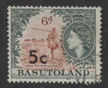 Basutoland -Scott 66-Surcharge New Value-1961-Used -Single 5c on a 6d