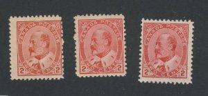3x Canada Edward VII Stamps #90-2c Shades All F 1x MNH 1x MH 1xGD GV=$80.00