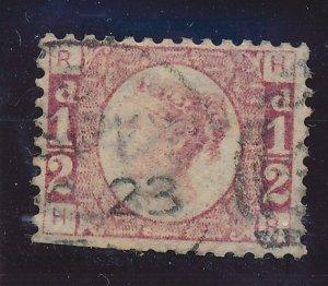 Great Britain Stamp Scott #58, Used, Partial Straight Edge - Free U.S. Shippi...