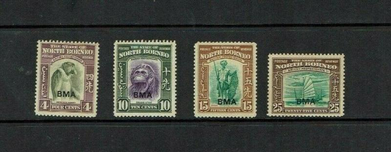 North Borneo: 1945, BMA overprint selection, mint, gum tone faults