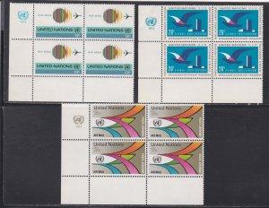 United Nations -New York #  C19-21, Inscription Blocks of Four, NH, 1/3 Cat.