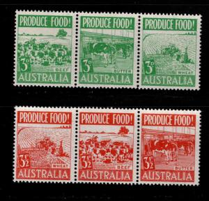 Australia Scott 255a, 252a MNH** Farm aminal strip set