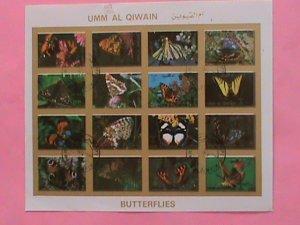UMM AL QIWAIN STAMP-1973- LOVELY BUTTERFLIES  CTO-MNH STAMP SHEET -RARE