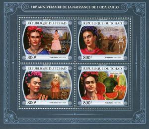 Chad Art Stamps 2017 MNH Frida Kahlo Viva La Vida Paintings 4v M/S