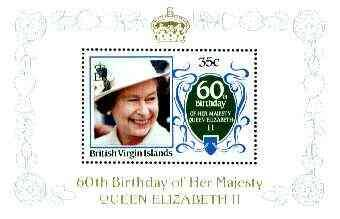 British Virgin Islands 1986 Queen\'s 60th Birthday 35c in...