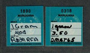 North Carolina State Revenue Stamp Sc#DRM1+DRM2, Marijuana