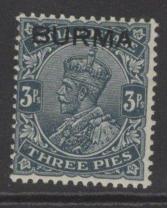 BURMA SG1 1937 3p SLATE MTD MINT