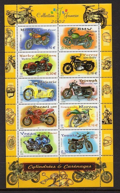 France 2002 Vehicles Motorcycles Sheet VF MNH (2913)