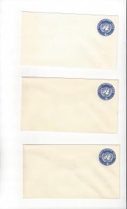 United Nations U2, Postal Stationery,  Mint 3 Pieces