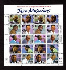 US 2992a,  Pane of 20, VF, MNH, Jazz Musicians, CV $46.00 ..... 6786002