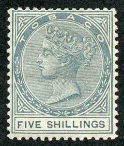 Tobago QV 5/- Fiscal wmk Crown CA Fine M/Mint