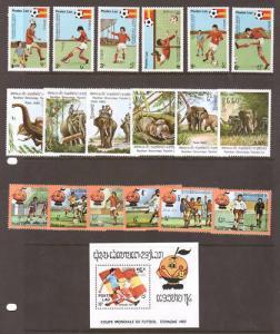 Laos Sc 337/385 MNH. 1982, 3 cplt sets, soccer, 2;0
