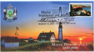 20-062, 2020, Maine Statehood, Pictorial Postmark, First Day Cover, Portland Hea