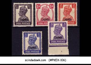 CHAMBA - 1940-43 KGVI SG#111-115 - 5V OVERPRINTED - MINT NH