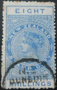 New Zealand 1913 Eight Shillings p14 SG F106 used