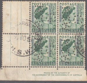 AUSTRALIA 1½d Queen Mother imprint block of 4 used official perfin G/NSW....2303