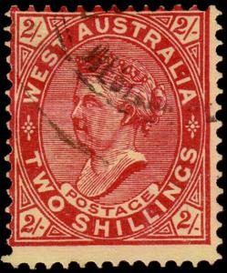 Western Australia Scott 84, Perf. 12.5 (1906) Used F, CV $32.50 M