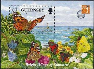 1997 Großbritannien-Guernsey Schmetterlinge, MiNr. 733 (Block 18) ** SCHÖN!