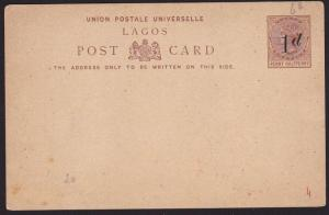 LAGOS NIGERIA QV 1d on 1½d postcard unused.................................69681