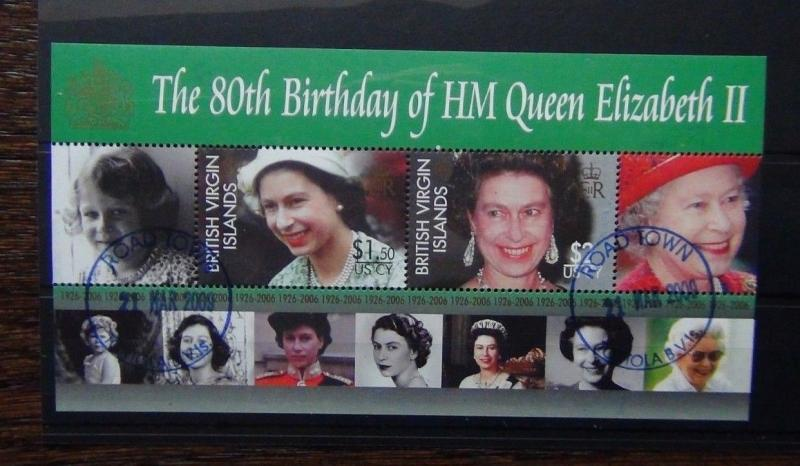 British Virgin Islands 2006 80th Birthday Queen Elizabeth Miniature Sheet VFU