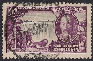 Southern Rhodesia 1935 KGV 6d Silver Jubilee used SG 34 ( H1396 )