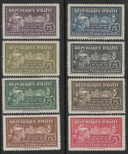 HAITI 1944-45 POSTAL TAX UN RELIEF FUND Set Sc RA1-RA8 MH