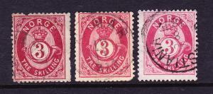 NORWAY   1872-75  3sk  ALL SHADES  FU  SG 38/40   Sc 18/a/b