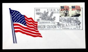 US Modern Patriotic Cover 1998 Sc# 2115c Pair USS Maine Centennial .