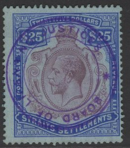 MALAYA STRAITS SETTLEMENTS SG213 1912 $25 PURPLE & BLUE/BLUE USED
