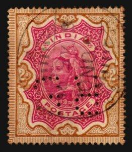 India Sc #50 Queen Victoria 2R calcutta cancel RB perfin stamp nice color