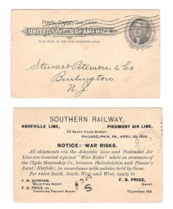 UX14 Philadelphia 1898 Barry Cance Southern Railway War Risks Clyde Steamship Co