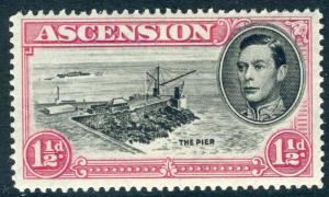 ASCENSION-1938-53 1½d Black & Rose-Carmine Perf 14 DAVIT FLAW LMM Sg 40da