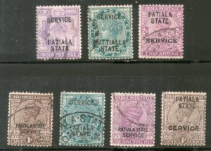 India Patiala State 7 Different QV KEd KG V Postage & Service Used Stamps # 2467