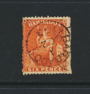 BARBADOS 1870, 6d ORANGE VERM, VF USED SG#46 CAT£90 $118(SEE BELOW)