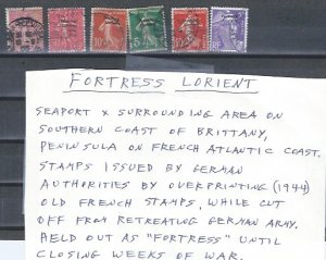 FORTRESS LORIENT 6 STAMPS SCV ? ON FRENCH STAMPS