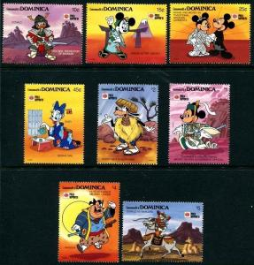 Dominica 1307-1314, MNH, Disney characters Mickey Mouse Donald Goofy. x8580