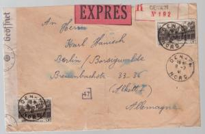1941 France Airmail Express Censored cover to Berlin GErmany
