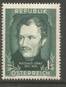 AUSTRIA  582  HINGED,  NIKOLAUS LENAU