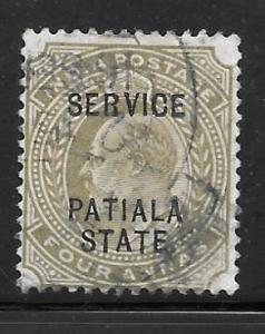 India Patiala O24: 4a Edward VII, used, F