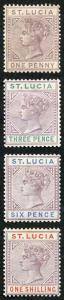 St Lucia SG39/42 set of 4 Die 1 M/Mint (hinge remainder)