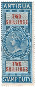 (I.B) Antigua Revenue : Duty Stamp 2/- (1870)