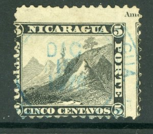 Nicaragua 1869-73  First Issues 5¢ Black Perf 12 VFU L101