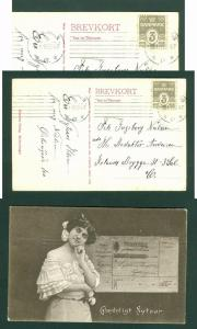 Denmark. Postcard. New Year 1915. Lady  With Post Money Receipt. Stamp 3 Ore.