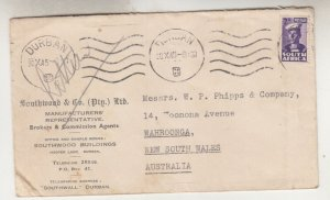SOUTH AFRICA, 1945 cover Durban to Australia, 2d.