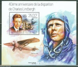 TOGO 2014 40th MEMORIAL ANNIVERSARY OF CHARLES LINDBERGH S/S  MINT