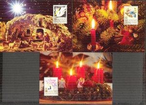 Liechtenstein 1994 Christmas 3 Maxi Cards FDC