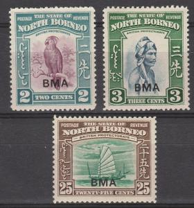 NORTH BORNEO 1945 BMA OVERPRINTED PICTORIAL 2C 3C AND 25C